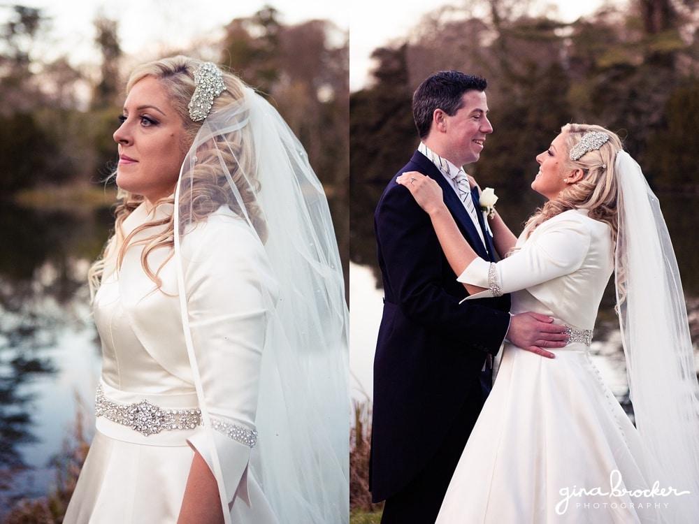 Classic winter wedding bride with groom